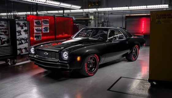 Chevrolet's racing-inspired 1973 Chevelle Laguna SEMA show car showcases the new LT5 crate engine, which is rated at 755 hp and 715 lb.-ft. of torque. Copyright Chevrolet