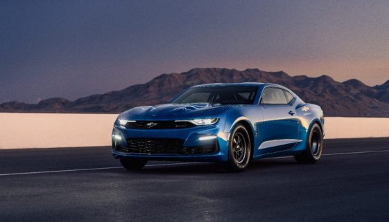 The eCOPO Camaro Concept offers an electrified vision of drag racing, with an electric motor and GM's first 800-volt battery pack replacing the gas engine, enabling 9-second quarter-mile times. Copyright Chevrolet